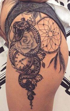 Unique Dreamcatcher Thigh Tattoo Ideas for Women - Cool Owl Leg Tat - www.MyBodi… - Tattoo Patterns - Unique Dreamcatcher Thigh Tattoo Ideas for Women – Cool Owl Leg Tat – www. Hip Thigh Tattoos, Leg Tattoos Women, Dope Tattoos, Pretty Tattoos, Body Art Tattoos, Girl Tattoos, Tattos, Tattoos On Thighs, Back Of Thigh Tattoo Women