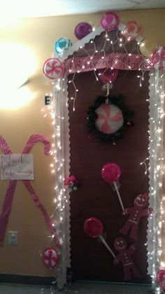 "My door for the Christmas Door Decorating contest this year. Our  ""Kinderbread House"" won!"