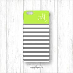 Personalized iPhone 6 case, 6+, 5, 5s, 5c, 4, 4s, Galaxy, s5, s4, s3, 3d, case, stripes, striped, lime, green, grey, monogrammed, monogram