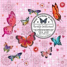 Verjaardagskaarten - Jarig Meisje Bloemen Vlinder Label Roze