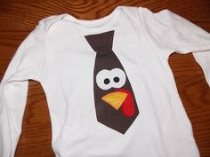 Infant Toddler Boys Little Man Turkey Tie Applique Thanksgiving Shirt Long or Short Sleeve