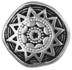 Fancy and Decorative {20mm w/ 3mm Back Hole} 3 Pack of Large Size Round 'Popper Shank' Sewing and Craft Buttons Made of Genuine Metal w/ Metallic Ancient Etched Tribal Sun Star Design {Silver and Black} >>> Check out this great item.
