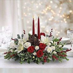 Merry Christmas Wishes : Christmas Wishes Centerpiece Bouquet Más Christmas Flower Arrangements, Christmas Table Centerpieces, Christmas Flowers, Christmas Candles, Noel Christmas, Floral Centerpieces, Christmas Wishes, Xmas Decorations, Christmas Wreaths
