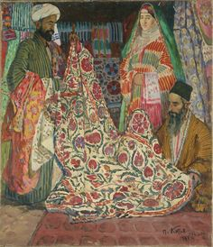 Suzani textiles sale, in old Bukhara city, Central Asia. P.I. Kotov, 1920s, oil/canvas.