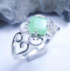 Jade ring sterling silver 065 ct  ON SALE 30 off by JubileJewel, $50.00