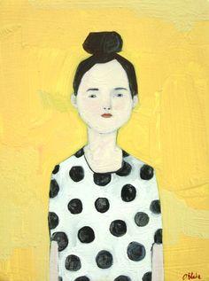 // Gwen, original oil painting by This is All I Know, art, colour, polka dots Illustrations, Illustration Art, Art Abstrait, Art Graphique, Portrait Art, Oeuvre D'art, Figurative Art, Steven Universe, Collage Art