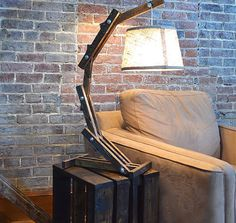 Rustic Wood Arc Table / Desk Lamp by AWalkThroughTheWoods on Etsy