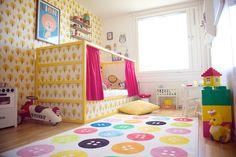 kura bed, ikea. yellow! not wallpaper! haha