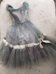 Wow! Vintage 1950s tulle mini doll prom dress! Cream silk ribbon blue ruffle shabby french nordic chic rachel ashwell boudoir by Heathershabbycottage on Etsy https://www.etsy.com/listing/509931858/wow-vintage-1950s-tulle-mini-doll-prom