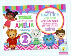 Daniel Tiger Invitation, Daniel Tiger Birthday Invitations • Colorful Pink & Purple Style02 • Any Age, You Print