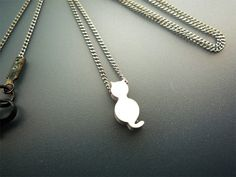 Tiny White Cat Necklace On Thin Chain by basicjewellerysuppli, $14.70