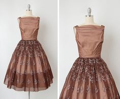 vintage 1950s dress / 1950s embroidered organza dress / 50s brown party dress