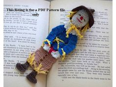 crochet PDF pattern scarecrow of oz bookmark by AndersonsCreations, $6.95