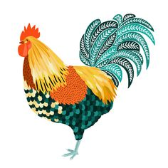 The Rooster - Chicken Print - A3. £25.00, via Etsy.