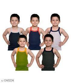 Innerwear Kid's Boy's Cotton Vest(Pack Of 5)  *Fabric* Cotton  *Sleeves* Sleeves Are Not Included  *Size* Age Group (0 Months - 3 Months) - 10 in Age Group (3 Months - 6 Months) - 12 in Age Group (6 Months - 9 Months) - 12 in Age Group (9 Months - 12 Months) - 14 in Age Group (12 Months - 18 Months) - 16 in Age Group (18 Months - 24 Months) - 18 in Age Group (2 - 3 Years) - 20 in Age Group (3 - 4 Years) - 22 in Age Group (4 - 5 Years) - 23 in Age Group (5 - 6 Years) - 24 in Age Group (6 - 7 Years) - 26 in Age Group (7 - 8 Years) - 27 in Age Group (8 - 9 Years) - 27 in Age Group (9 - 10 Years) - 27 in Age Group (10 - 11 Years) - 27 in Age Group (11 - 12 Years) - 28 in Age Group (12 - 13 Years) - 29 in Age Group (13- 14 Years) - 29 in Age Group (14 - 15 Years) - 29 in  *Type* Stitched  *Description* It Has 5 Pieces Of Kid's Boy's Vests  *Work * Printed  *Sizes Available* 0-3 Months, 0-6 Months, 3-6 Months, 6-9 Months, 6-12 Months, 9-12 Months, 12-18 Months, 18-24 Months, 0-1 Years, 1-2 Years, 2-3 Years, 3-4 Years, 4-5 Years, 5-6 Years, 6-7 Years, 7-8 Years, 8-9 Years, 9-10 Years, 10-11 Years, 11-12 Years, 12-13 Years, 13-14 Years, 14-15 Years *   Catalog Rating: ★4.1 (4316)  Catalog Name: Elegant Kid's Boy's Cotton Vests  Vol 9 CatalogID_228732 C59-SC1187 Code: 991-1745574-