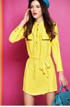 Morpheus Boutique  - Yellow Satin Long Sleeve Belted Dress, $89.99 (http://www.morpheusboutique.com/yellow-satin-long-sleeve-belted-dress/)