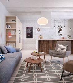 Nowoczesne mieszkanie w skandynawskim stylu - salon z kuchnią. Proj. Int2 Architecture  - zdjęcie