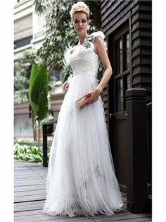 A-line one shoulder sweetheart tulle white Graduation Dresses PGSD0019
