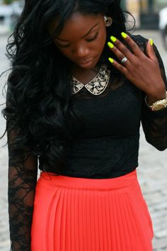 coral pleated skirt made into a fall outfit - a nude colored shirt would look really cute too