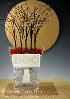 Easy Halloween Home Decor - Stamped Boo Vase by Carmen Flores Tanis made with #AnnButler Designs EZ-De's stamps and #Makins Clay #cre8time