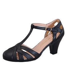 Look at this #zulilyfind! Black T-Strap Mina Pump #zulilyfinds