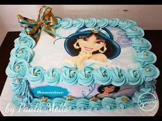 Decoraçao de bolo com Chantilly - Tema Princesa Jasmine - YouTube