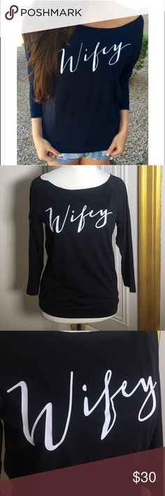 Wifey long sleeve Top. Black Stylish Skew Neck Letter Printed Long Sleeve T-Shirt For Women.  Sleeve Length:Full Collar: skew collar	 Size: S & L Tops Tees - Long Sleeve