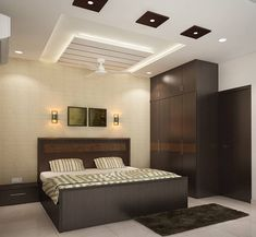 Browse images of modern Bedroom designs: 4 bedroom apartment at SJR Watermark. Find the best photos for ideas & inspiration to create your perfect home. Bedroom Lamps Design, Fall Ceiling Designs Bedroom, Bedroom False Ceiling Design, Bedroom Ceiling, Modern Bedroom Design, Master Bedroom Design, Modern Interior Design, Interior Design Inspiration, Bedroom Designs