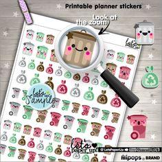 Printable Planner Stickers Garbage Stickers Trash Can Garbage Kawaii Stickers Erin Condren Planner Accessories Printable Stickers DIY (1.50 USD) by LetsPaperUp