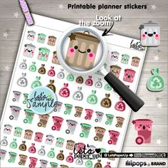 Garbage Stickers, Printable Planner Stickers, Trash Can Garbage, Kawaii Stickers, Erin Condren, Planner Accessories, Printable Stickers, DIY