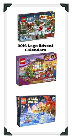 2016 Lego Advent Calendars! Lego just released their new Advent Calendar for 2016. They include lego star wars, lego friends and lego city. These sell out well before Christmas so be stock up now!