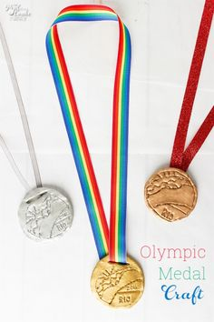 Such a cute craft for kids and adults. Easy to make these Olympic medals. Medals can be made full size or small, which is the perfect size for an American Girl Doll.