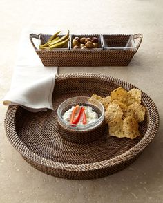 Round Chip & Dip and Rectangular Tray with Glass Inserts at Horchow.