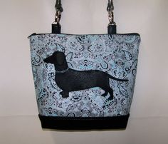 New Blue and Black paisley Dachshund Handbag by OscarsCreations