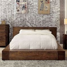Rustic Contemporary Style Low Profile Platform Bed