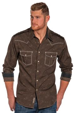 Bring out the style of the 70's with this ultra modern western shirt from Rock & Roll Cowboy. The long sleeve shirt channels the most stylish decade with its rich chocolate brown fabric. A subtle feathered paisley pattern keeps with the throwback feel. The shoulder seams are decorated with contrasting zig zag stitching giving it a modern touch. Traditional shoulder yokes and front flap pockets are outlined in light contrasting multi-row embroidery. Classic pearl snaps finish off the ...