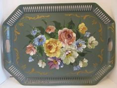 Antiques Antique Handpainted Tole Tray Reticulated Edge Roses 100% High Quality Materials