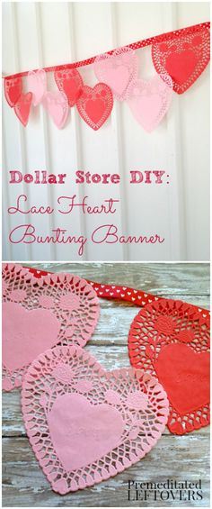 Paper Lace Heart Bunting Valentine's Day Banner