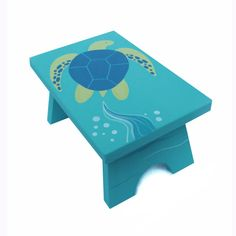Woodworking For Kids Small Step Stool - Custom Hand Painted Children's Bench Seat Ocean Sea Turtle or Any Kids Theme - Hand Painted Chairs, Painted Stools, Hand Painted Furniture, Kids Furniture, Furniture Online, Small Woodworking Projects, Wood Projects, Turtle Nursery, Kids Stool