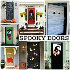 15 Fun Halloween Front Door Decorations You Can Do At Your House Halloween is coming soon and there are so many fun ways to decorate your front door - check out this list of our favorite Halloween door decorations EVER! Halloween Front Door Decorations, Halloween Front Doors, Halloween Home Decor, Halloween Crafts, Holiday Crafts, Holiday Fun, House Decorations, Spooky Halloween, Outdoor Halloween