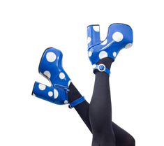 505ab28f76f1 Cartoon Polkadot Platform Shoes - Blue   White Patent