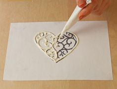 Chocolate Writing Template | How to Make A Chocolate Monogram or Chocolate Filigree - Trace or Draw ...