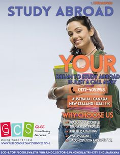 GLEE Consultancy Services is an Overseas education consultants in chandigarh.we provide visa assistance for Australia,New Zealand,Canada and USA.