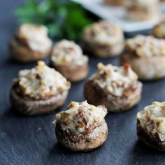 Stuffed Mushrooms with sausage, cream cheese, garlic, and Parmesan - these savory little bites make the perfect party appetizer!