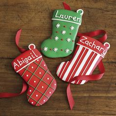 Personalized Gingerbread Stocking Cookies, Set of 3 (Williams Sonoma); idea for decorating cookies Christmas Stocking Cookies, Christmas Biscuits, Christmas Sugar Cookies, Christmas Sweets, Holiday Cookies, Christmas Baking, Gingerbread Cookies, Christmas Stockings, Disney Christmas