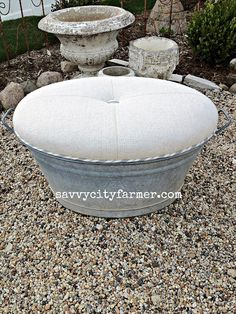Galvanized bucket turned into awesome ottoman!