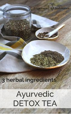 Ayurvedic digestion tea recipe-individual serving: 1/4 t coriander seeds, 1/4 t cumin seeds, 1/4 t fennel seeds, 2 c water. Place blended herbs in 2 cups of water in a pot or kettle. Bring to a boil, then simmer for 4-5 minutes. Strain and enjoy.