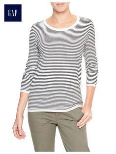 Factory stripe scoopneck sweater