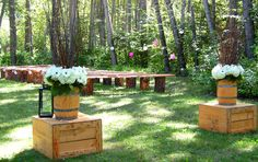 fur tree benches, Barrels, wedding ceremony