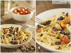 Espaguetis con frutos secos. Receta